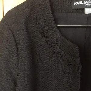 Karl Lagerfeld tweed Black Fringe blazer